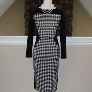 Black and White Houndstooth Bodycon-like dress in